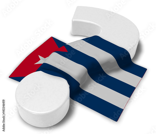 Photo  question mark and flag of cuba - 3d illustration