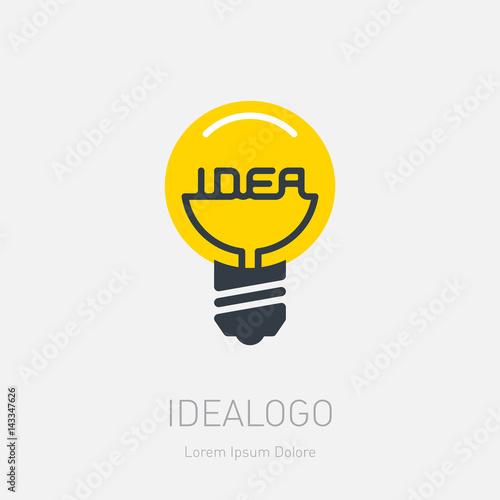 Light bulb icon with concept of idea. Vector Illustration for print or web design. Logo template. Inscription
