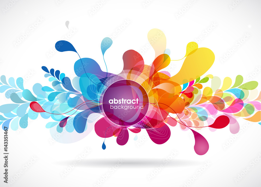 Abstract colored flower background with circles and brush strokes.