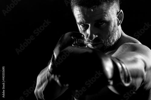 Plakat Studio strzał męski bokser.