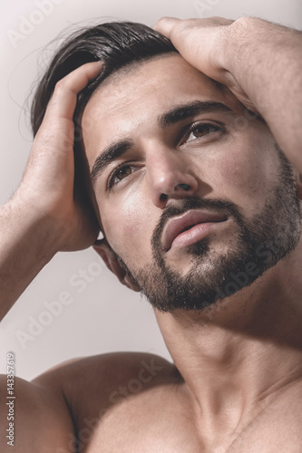 Dreamy Male Look Bearded Face Of Strong Man Dream Or