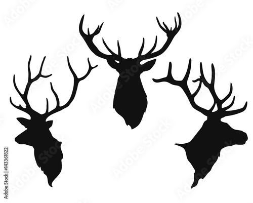 silhouettes of the buck's heads Wall mural