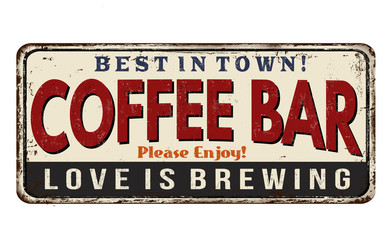 Panel Szklany Coffee bar vintage rusty metal sign