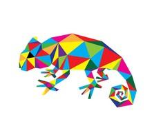 Geometric Chameleon, Art Vecto...