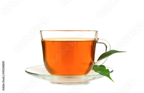 Garden Poster Tea Cup of tea and green leaves isolated on white