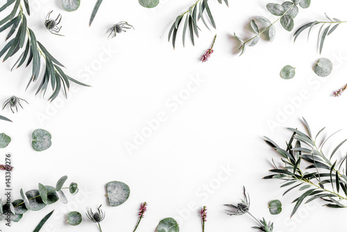 Foto op Aluminium Bloemen floral concept with green leaves on white background top view mock-up