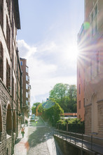 Sweden, Stockholm, Sverige, Sodermalm, City Street In Sunlight