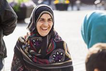 Sweden, Bleking, Solvesborg Portrait Of Woman Wearing Headscarf