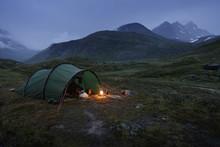 Norway, Tent By Jotunheimen Range At Dusk