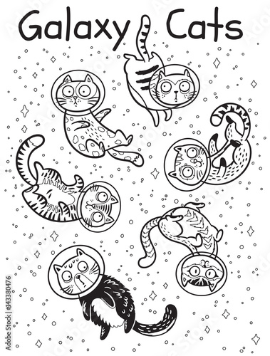 Wektor zarys wydruku z kotami w przestrzeni. Kolorowanka książki