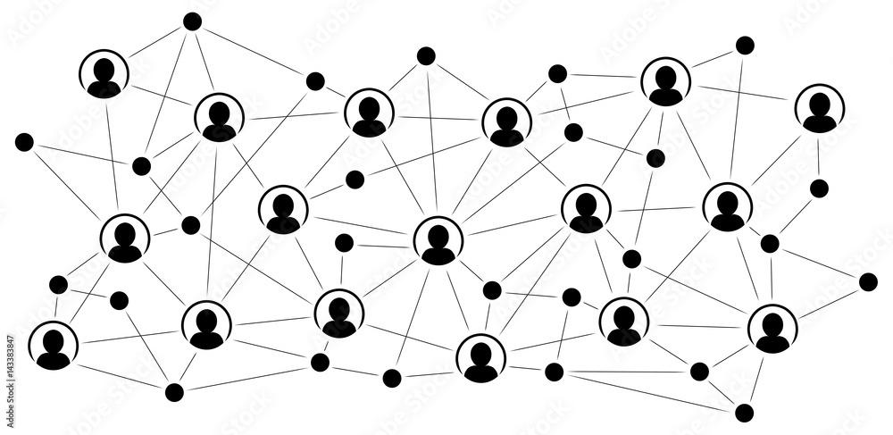 Fototapeta Soziales Netzwerk / Schwarz-weiß, Vektor, freigestellt
