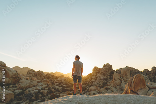 USA, California, Man looking at view in Joshua Tree National Park