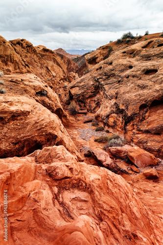 Foto op Canvas Baksteen Landscape of scenic Desert at southern Nevada, USA