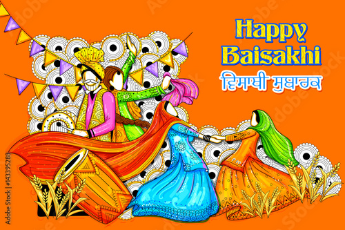 Fotografia, Obraz Happy Vaisakhi Punjabi festival celebration background