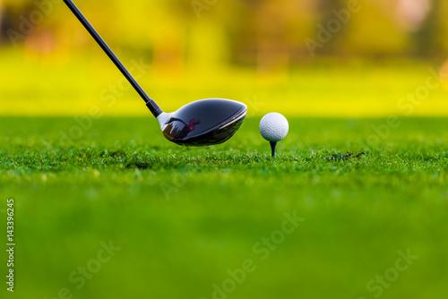 Plakat Piłka i kij na polu golfowym