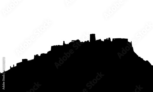 Photo Stands Kuala Lumpur Black realistic silhouette of the ruins of a medieval castle standing on the hill isolated on white background - vector