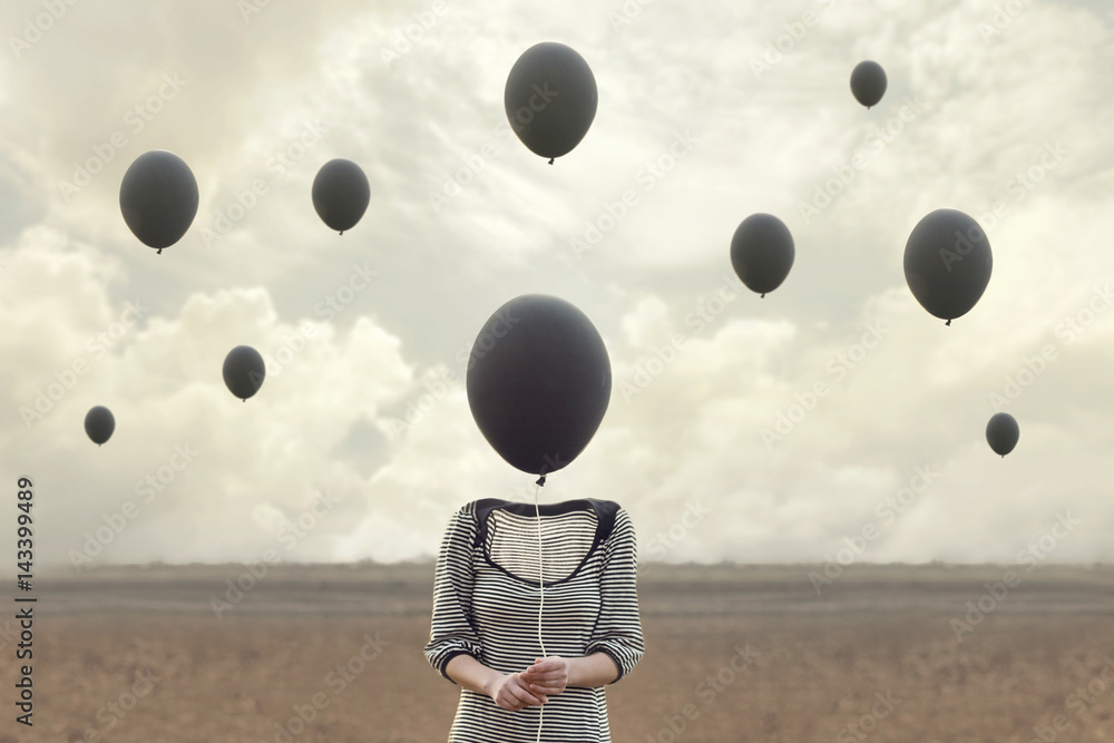 Fototapety, obrazy: surreal image of woman and blacks balloons flying