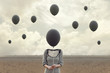canvas print picture - surreal image of woman and blacks balloons flying