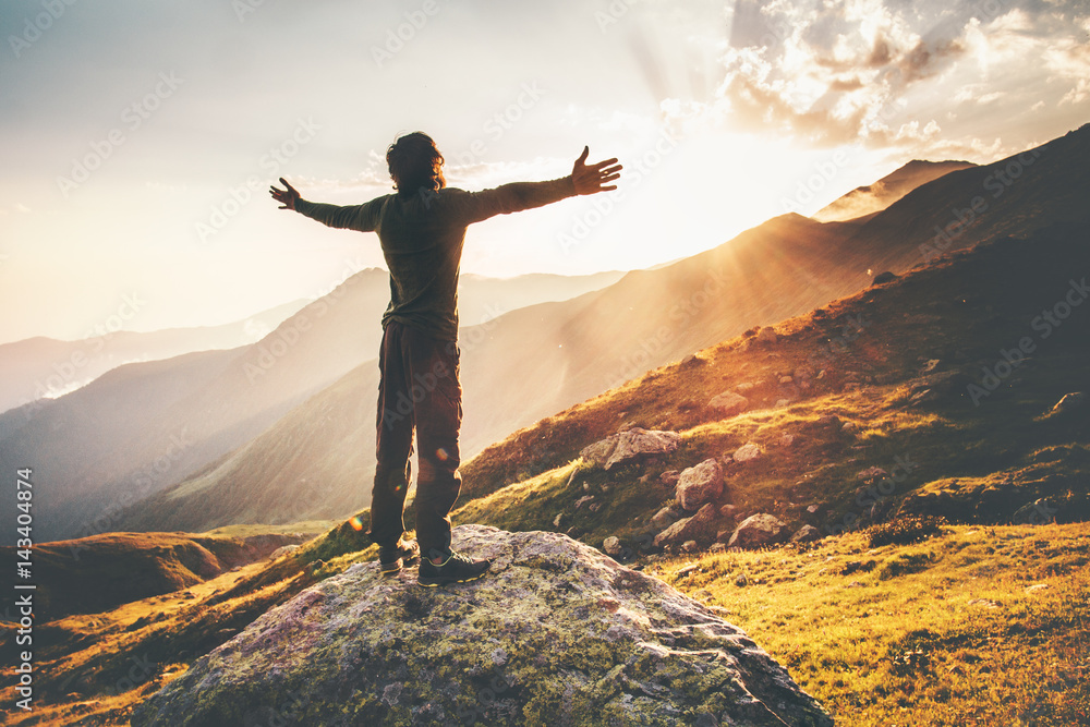 Fototapety, obrazy: Happy Man raised hands at sunset mountains Travel Lifestyle emotional concept adventure summer vacations outdoor hiking mountaineering harmony with nature