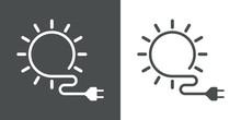 Icono Plano Energia Solar Gris Y Blanco