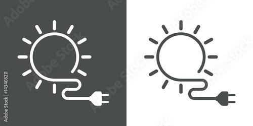 Tela Icono plano energia solar gris y blanco