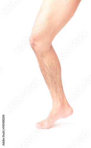 Fotografía Closeup leg men skin and hairy with white background, health care and medical co