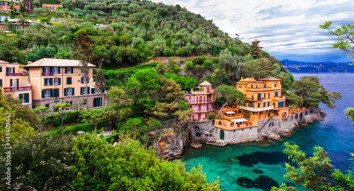 Scenic Ligurian coast of Italy - beautiful luxury Portofino. Tableau sur Toile