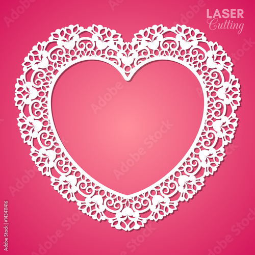 Valokuva Laser cut vector frame in the shape of a heart with lace border, vector ornament, vintage frame