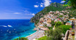 Leinwandbild Motiv Beautiful coastal towns of Italy - scenic Positano in Amalfi coast