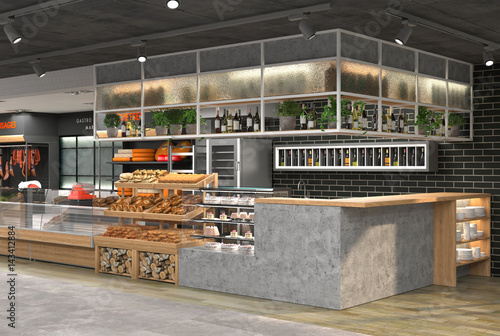 Fotografía  3D visualization of the interior of the grocery store
