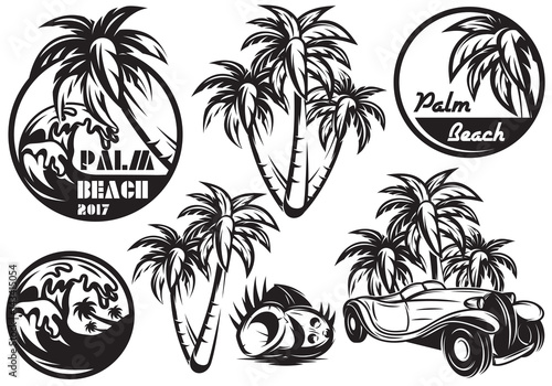 Photo A set of monochrome templates with different palm, waves, coconut and a car