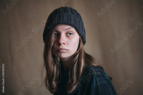 Fotografija  Portrait of Sad Teen Girl in Green Plaid Shirt