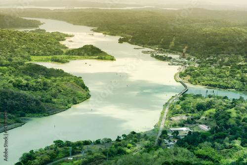 Deurstickers Luchtfoto Aerial view of Panama Canal on the Atlantic side