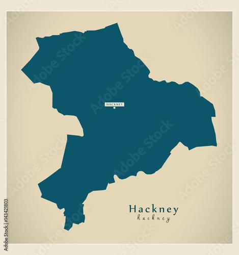 Fotografia, Obraz  Modern Map - Hackney borough Greater London UK England