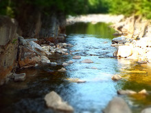 Slow Water Moving Through A Rocky Mountain Creek With Dappled Sunlight - Selective Blur, Dreamy Effect