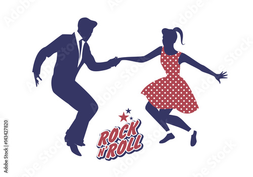 Photographie  Young couple wearing 50's clothes dancing rock and roll
