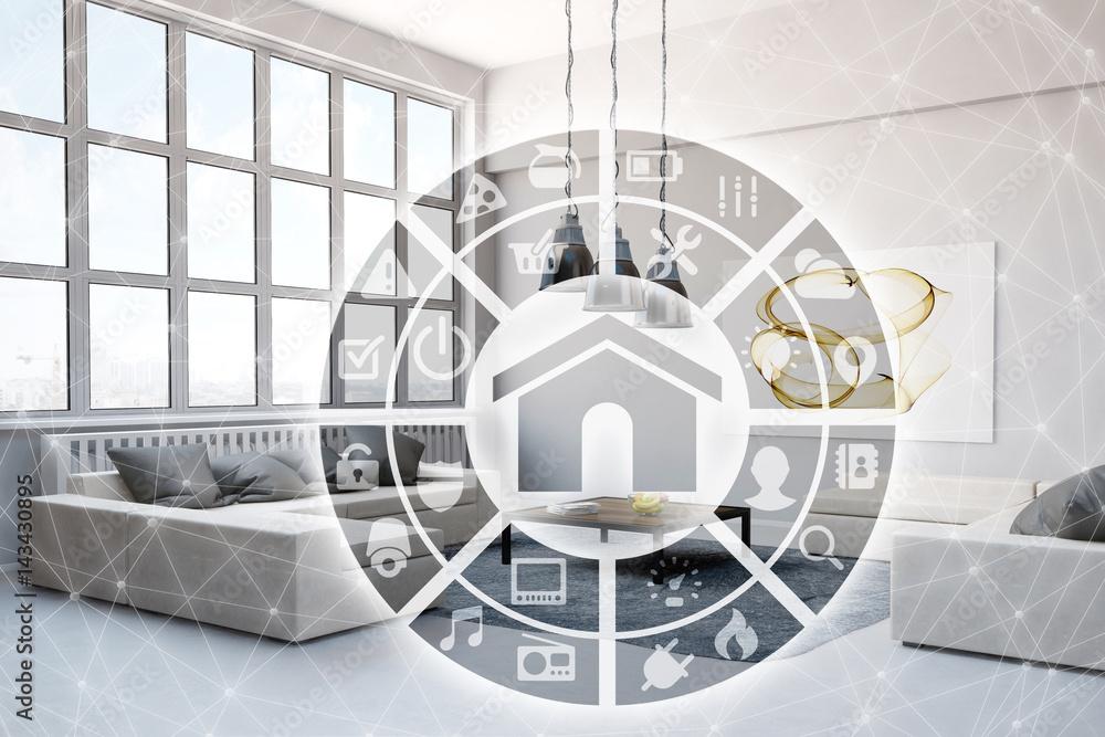 Fototapety, obrazy: Smart Home Steuerung im Wohnzimmer