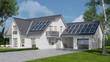 Leinwanddruck Bild - Solaranlage auf Haus mit Solarzellen auf Dach
