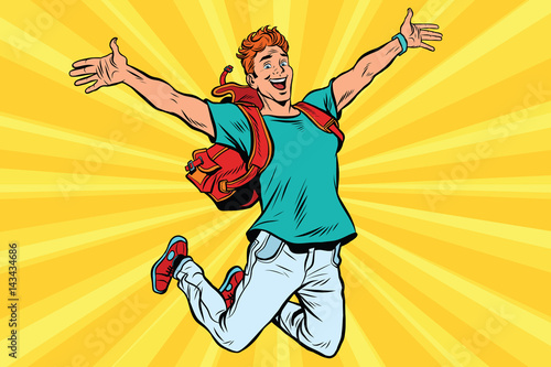 Aluminium Prints Superheroes Young man jumping for joy
