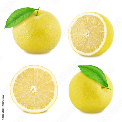 Set of white grapefruit isolated on a white background.