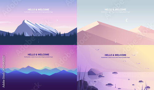 Recess Fitting Purple Vector banners set . Landscape illustration . flat design