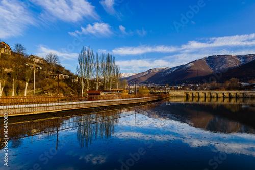 Amazing lake landscape with beautiful sky, Armenia