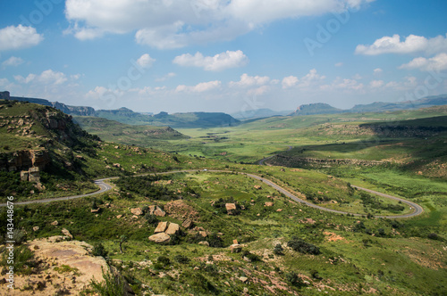 Tuinposter Heuvel Mountain Landscape with Highway in Golden Gate Highlands National Park in South Africa's Freestate