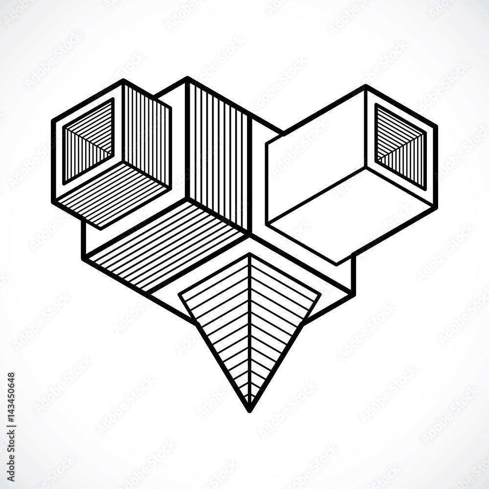 Vector Abstract 3d Geometric Shape Polygonal Figure Foto
