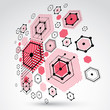3d vector Bauhaus abstract background made with grid and overlapping geometric elements, circles and honeycombs. Retro artwork, technology style red graphic template for advertising poster.