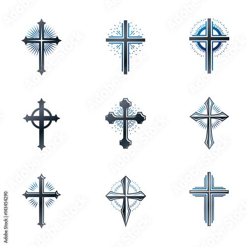 Crosses of Christianity emblems set Fototapeta
