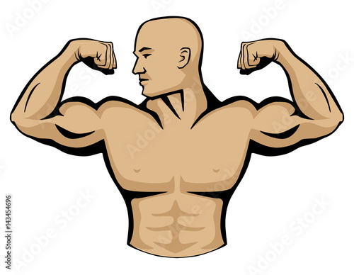 Photo Male body builder vector graphic illustration, flexing arm muscles, head turned to right