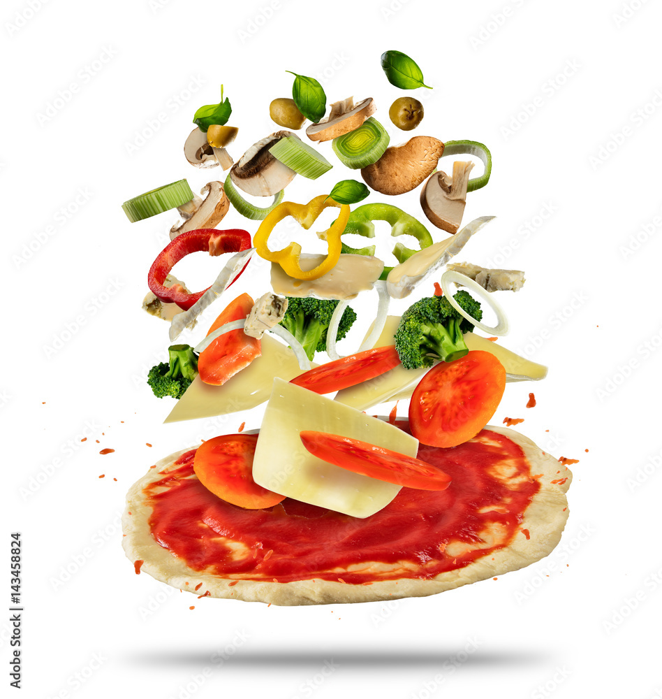 Flying ingredients with pizza dough, on white background