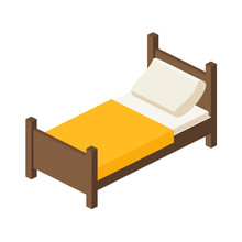 Wooden Bed For One Person In An Isometric View. Place To Sleep With A Pillow And A Blanket In A Flat Style. Vector Illustration Isolated On White Background