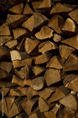 Poster Brandhout textuur Texture of firewood for wooden abstract background. Outdoor rack with firewood logs.